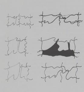 """""""piccoli studi"""", 1989, matita e pennarello, cm. 15 x 21"""