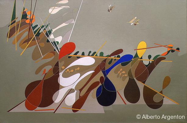 """Fig. 4 """"Battaglia. Omaggio a Paolo Uccello, 1998, olio su tela, cm. 58.5 x 87.5"""