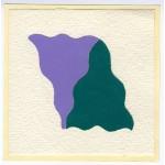 Effetto altalena 023 Lilla Verde T, collage, 14,5 x 14,5 ca.