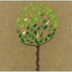 """primavera"", 2013, pastello, acrilico, collage, cm. 14.5 x 14.5"
