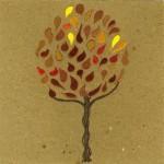 """""""autunno"""", 2013, pastello, acrilico, collage, cm. 14.5 x 14.5"""