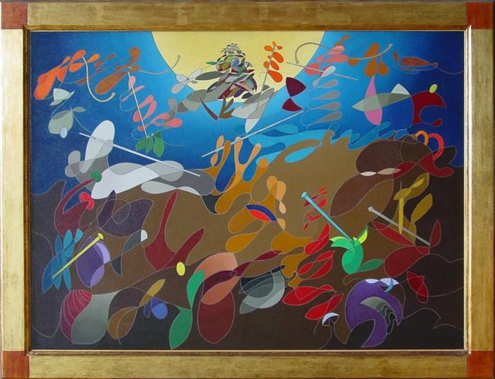 """""""omaggio a Bruegel"""", 2000, olio su tela, cm. 55 x 75"""