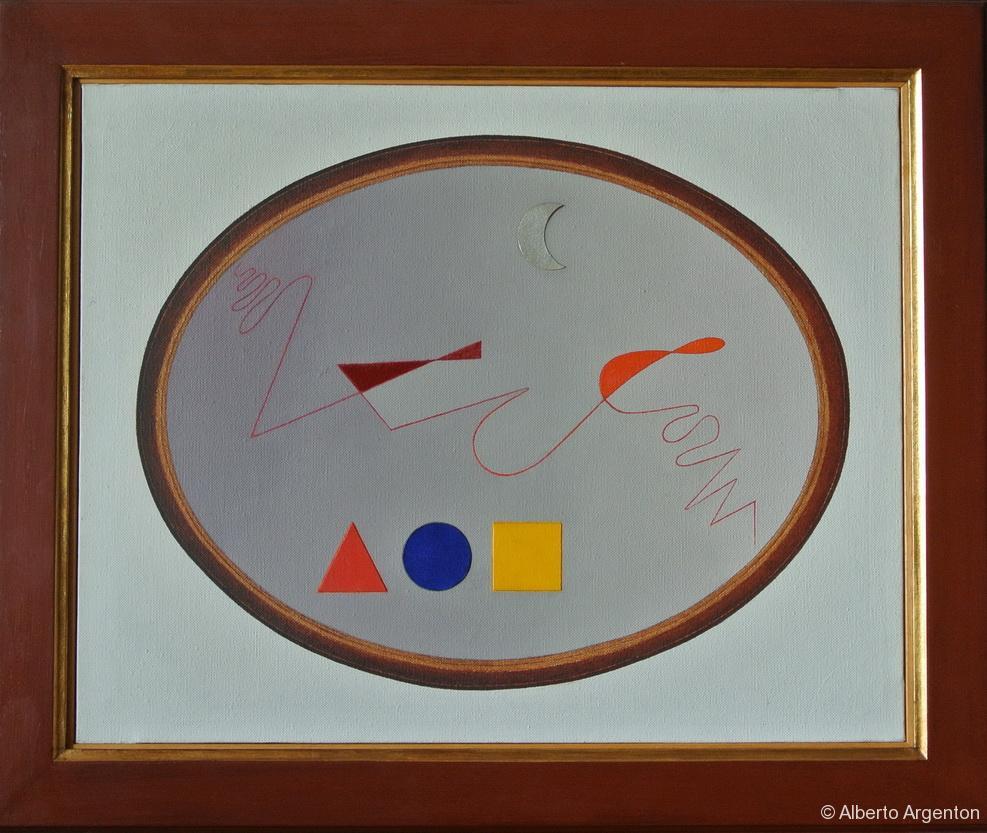 """""""ovale con 4 elementi"""", 2000, olio e pastello su tela, cm. 40 x 50"""