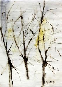 """alberi"", 1959, acquarello, cm. 70 x 50"