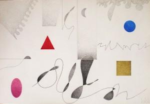 """""""elementi cosmici"""", 2000, pastello e grafite, cm. 30 x 45 """"elementi cosmici"""", 2000, acquarello e pastello, cm. 38 x 50.5"""