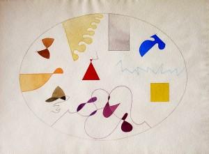 """""""elementi cosmici"""", 2000, acquarello e pastello, cm. 38 x 50.5"""