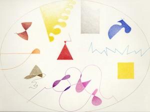 """""""elementi cosmici"""", 2000, pastello, cm. 30.1 x 39.7"""