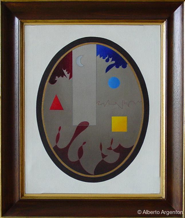"""""""ovale con 4 elementi"""", 2002, olio e pastello, cm. 50 x 40"""