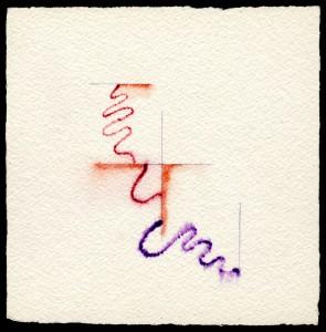 """""""studio per la corda pazza"""", 1977, acquarello, cm. 14 x 14"""