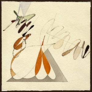 """""""studio per Paolo Uccello"""", 1986, acquarello, cm. 20 x 20"""