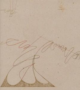 """""""studio per Paolo Uccello"""", 1986, pastello su carta da pesce, cm. 40.6 x 40.8, dettaglio"""