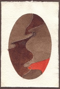 """""""piccolo studio"""", 1987, acquarello, cm. 14.2 x 9.7"""