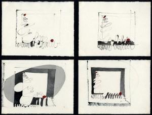 """""""studio iniziale per 'quadri di vita'"""", 1980, acquarello, cm, 14 x 19"""