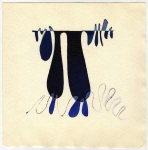"""""""q di v 000"""", 1982, acquarello, cm. 19 x 14"""