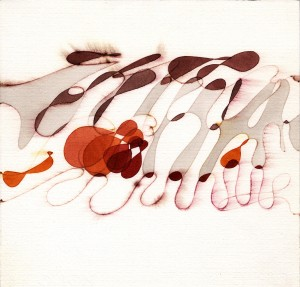"""evento"", 1985, acquarello, cm. 25 x 25"