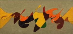 """""""autumn in love"""", 1987, olio su tela, cm. 15 x 25"""